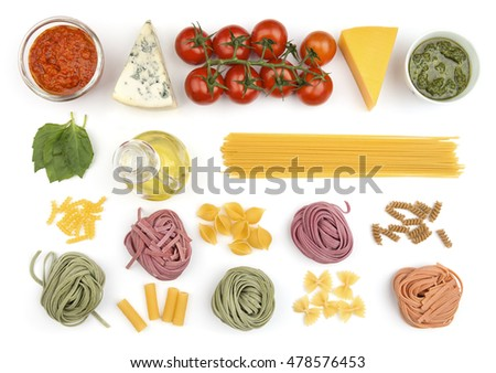 Different kind of pasta, olive oil, vegetables and other ingredients on white background