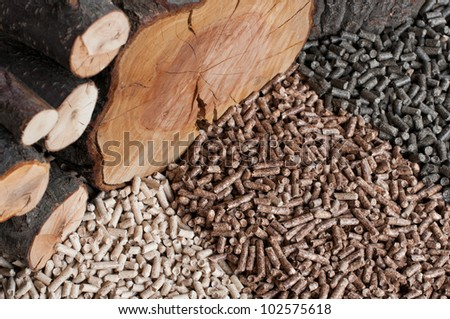 Different kind of pellets- oak, pine,sunflower - stock photo
