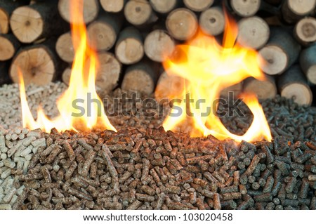 Different kind of pellets- oak, pine,sunflower, in flames. Selective focus on the heap. - stock photo