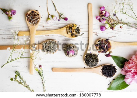 Different kind of tea in wooden spoons - stock photo