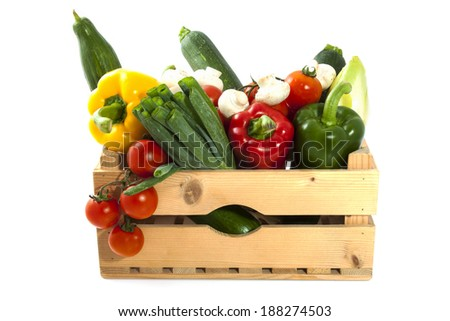 Different kind of vegetable in a wooden crate