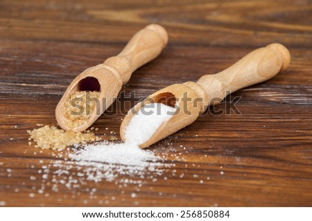different kind of white and brown sugar - stock photo