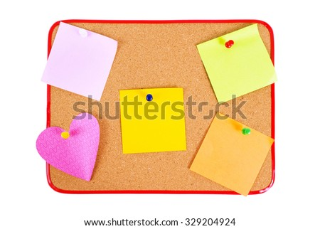 Different Kinds Of Blank Notes Tacked To Bulletin Board/ Different Blank Notes On Bulletin Board - stock photo