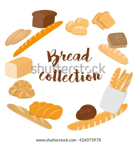 Different kinds of bread set for cafe menu. Collection of pastry or bakery items isolated on white for print or web. Cartoon bread. Frame of buns and bread with copy space for text. Packing  - stock photo