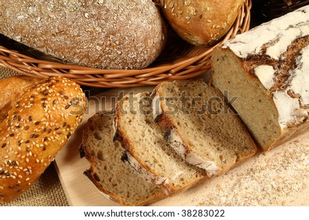Different kinds of bread. Traditional baked  from Poland.