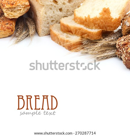 Different kinds of fresh bread over white background