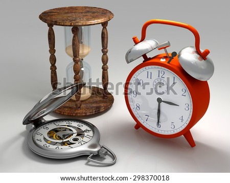 Different kinds of hours on a gray background. - stock photo