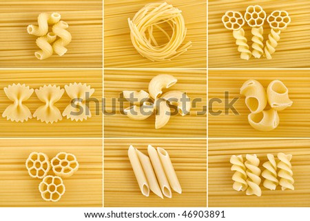 different kinds of italian pasta collection set close up m tot view surface