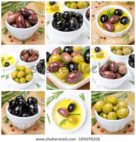 different kinds of olives, spices and olive oil, collage of nine photos