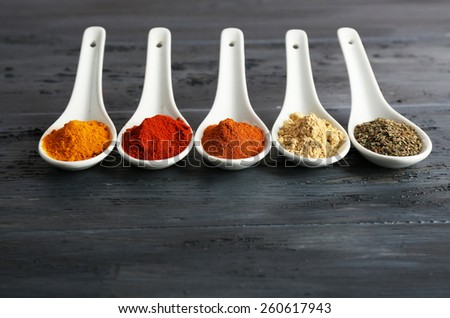 Different kinds of spices in spoons on wooden background