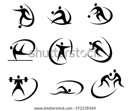 Different kinds of sports symbols for competition and tournament design. Vector version also available in gallery - stock photo