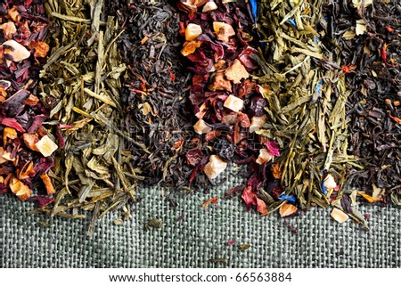 different kinds of tea leaves - stock photo