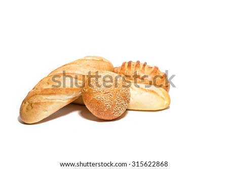 Different  kinds of  wheat ar corn bread  isolated on white - stock photo