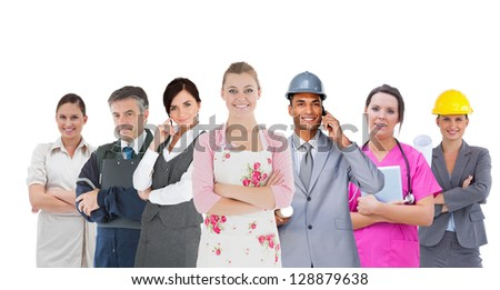 Different kinds of workers on white background - stock photo