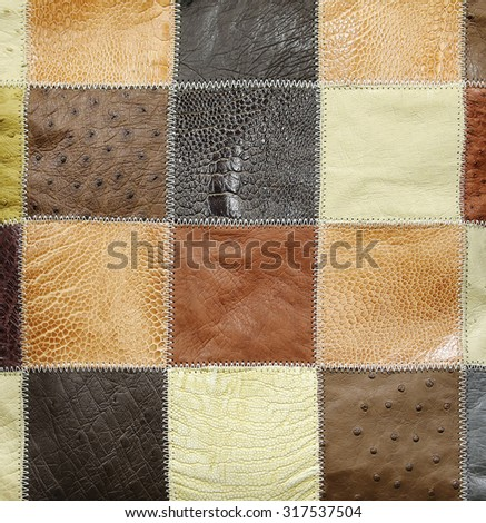 different leather types. for background. - stock photo