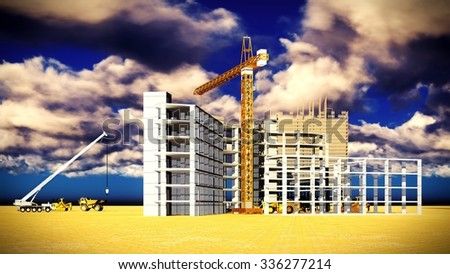 Different machinery at the construction site - stock photo