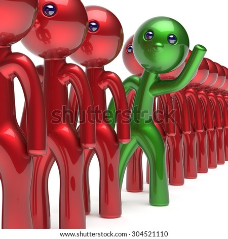 Different man character trust stand out from the crowd people unique individuality green think differ person otherwise welcome to new opportunities concept human resources hr icon. 3d render isolated - stock photo