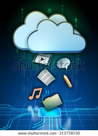 Different media files are being uploaded to a cloud storage system. Digital illustration. - stock photo