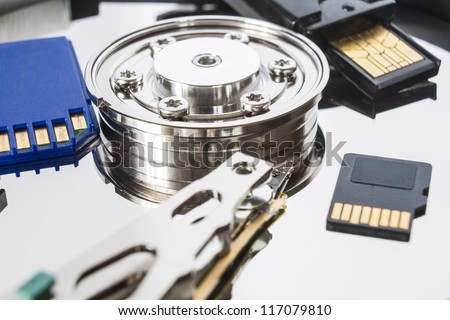 different media storage, open hard drive, sd card and pen - stock photo
