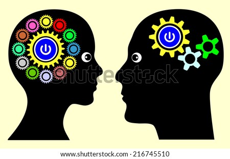 Different Mindset. Man and woman with different thinking patterns, multitasking or single tasking when making decision or solving problems - stock photo