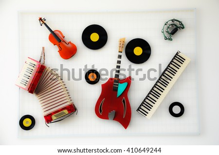 Different music instruments - stock photo