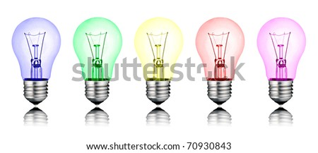 Different New Ideas - Row of Colored Lightbulbs Isolated on White Background - stock photo