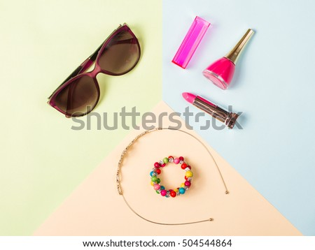 Different objects on abstract colorful background.