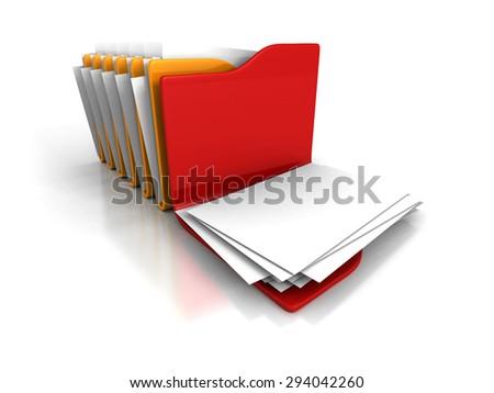 Different Opened Office Document Paper Folder. 3d Render Illustration - stock photo