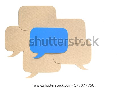 Different opinion concept, paper dialog boxes over white