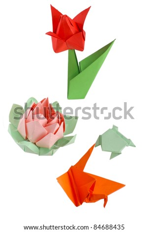 Different origami figures isolated on white - stock photo