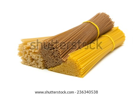 different pasta isolated on white background. horizontal photo. - stock photo