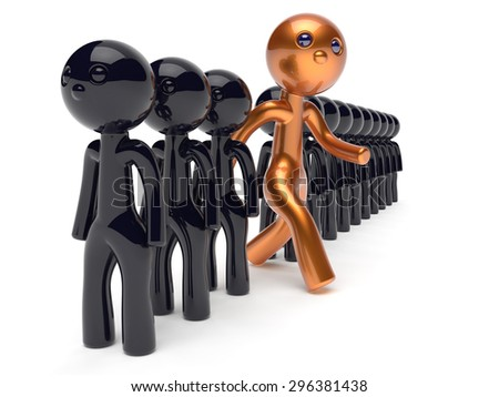 Different people big character run to new opportunities unique individuality stand out from the crowd original brave man think differ person otherwise concept human resources icon 3d render isolated - stock photo
