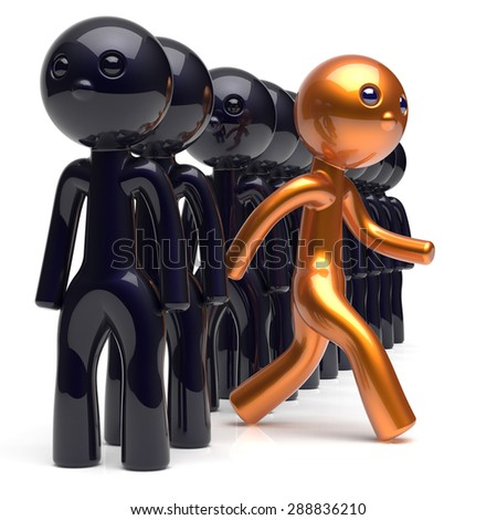 Different people character stand out from the crowd unique individuality man think differ person otherwise run to new opportunities concept human resources hr icon. 3d render isolated - stock photo