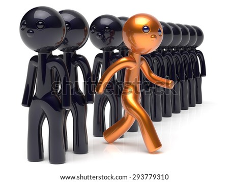 Different people character unique individuality stand out from the crowd original brave man think differ person otherwise run to new opportunities concept human resources hr icon 3d render isolated - stock photo