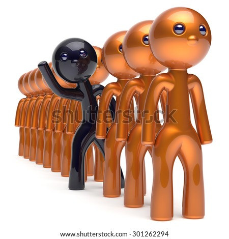 Different people man character black stand out from the golden crowd unique individuality think differ person otherwise hello to new opportunities concept human resources hr icon. 3d render isolated - stock photo