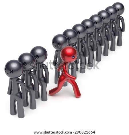 Different people red character individuality stand out from the black crowd unique man think differ person otherwise run to new opportunities concept human resources hr icon. 3d render isolated - stock photo