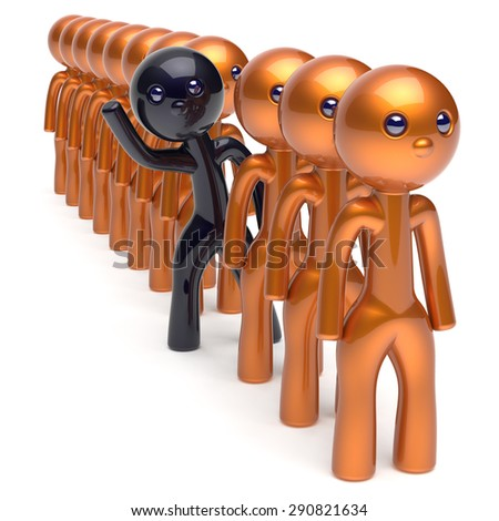 Different people stand out from the crowd individuality black character unique man think differ person otherwise run to new opportunities concept human resources hr icon. 3d render isolated - stock photo