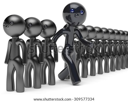 Different people unusual man stand out from crowd giant character black think differ unique person otherwise run to new opportunities concept individuality vote icon 3d render isolated - stock photo