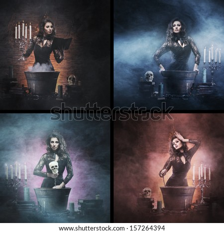 Different photos of young and beautiful witch (Halloween set) - stock photo