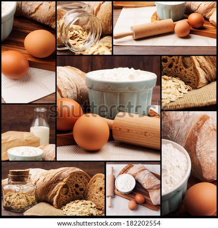 Different pictures with bread preparation steps - stock photo