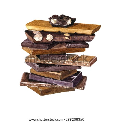 Different piece of chocolate drawing by watercolor at white background, sweet dessert, hand drawn artistic illustration