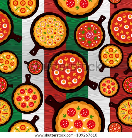 Different Pizza flavors seamless pattern over wooden textured Italian flag background.