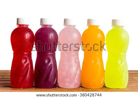 different Plastic Bottle of juice beverage on White background - stock photo