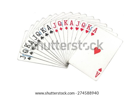 different playing cards isolated on white - stock photo