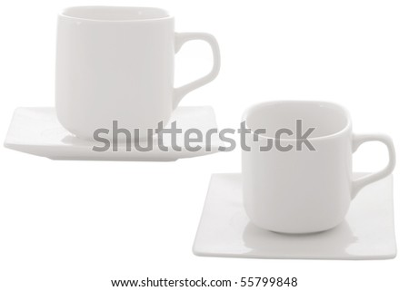 different point of view from coffee cup on white background - stock photo