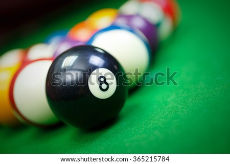 Different points of view billiard balls on a blue pool table,Black number eight - stock photo