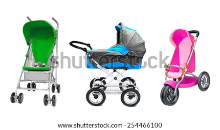 different prams - stock photo
