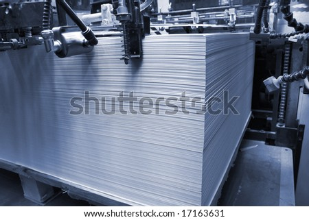Different printed machines and poly-graphic equipment - stock photo