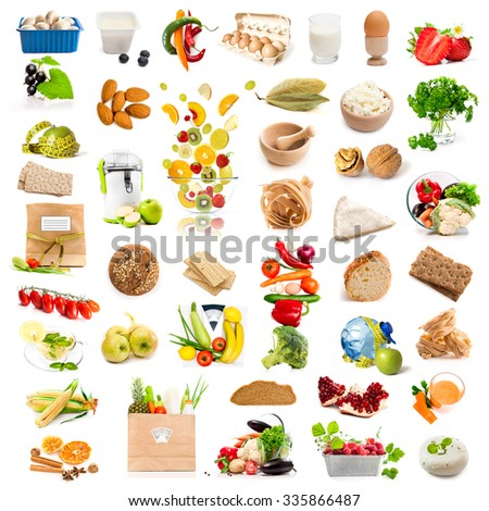 different products collage isolated on white background