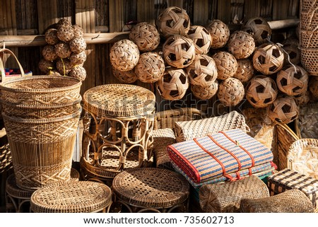 Different rattan souvenirs such as sepak takraw balls, baskets and furniture, Bagan, Myanmar